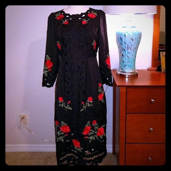 27b0cb9f1d Dresses   Skirts - Embroidered red roses dress on black lace dress