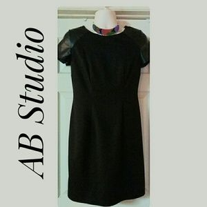 AB Studio Dresses & Skirts - Studio Black Dress Faux Leather Shoulders Size 10