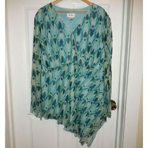Plus Size Bob Mackie 100% Silk sheer blouse