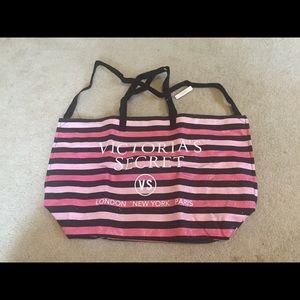 Victoria's Secret black and pink stripe tote bag