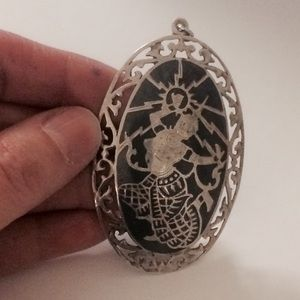 Jewelry - Vintage Sterling Siam Pendent 1940's