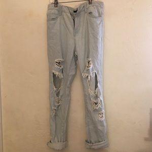 Forever 21 distressed denim ripped boyfriend jeans