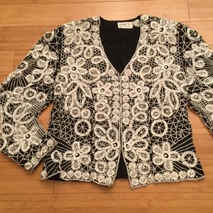 Black Tie beaded silk blazer, Sz L