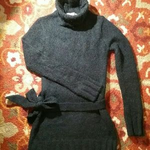 Free People Mohair Black Turtleneck Tunic Sweater