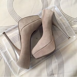 Luichiny Shoes - Luichiny Leg Acy Taupe Suede Pumps