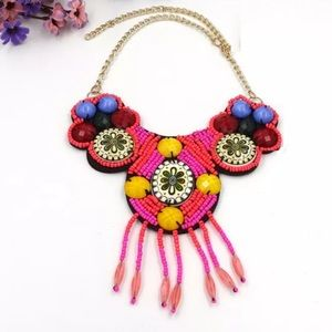 Jewelry - Tribal Beaded Pink and Red Bib Statement Necklace