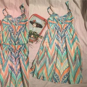 Lil Anthropologie Silk Pastel Midi Dress EUC S