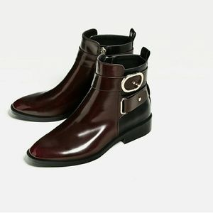 ZARA ANKLE BOOTS WITH BUCKLE BRAND NEW