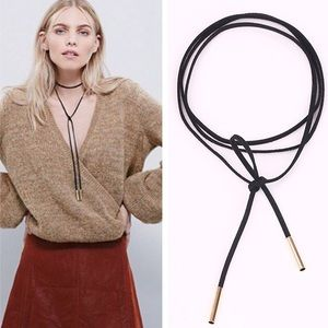  FAUX LEATHER THIN TIE CHOKER WITH GOLD TIPS