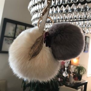 Fur Puff Purse Charm Keychain