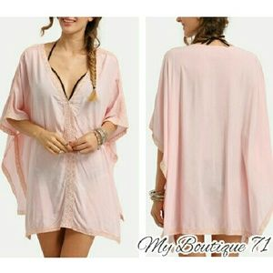 Pink Crochet Panel Beach Cover up
