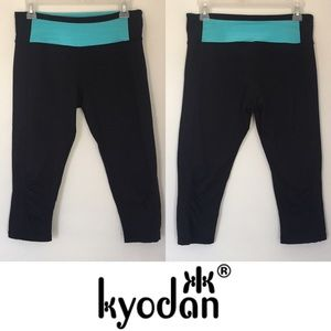 Kyodan Pants - | Kyodan | Cropped Black & Blue Ruched Leggings