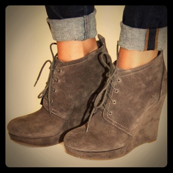 597b82aebdfd Jessica Simpson Shoes - Jessica Simpson Catcher Booties grey suede wedges