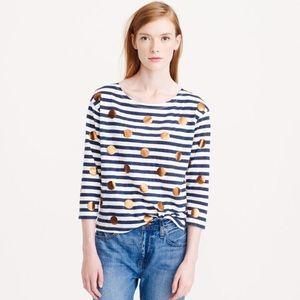 J. Crew Tops - J.Crew foil dot t-shirt sz M. Stripes & dots!
