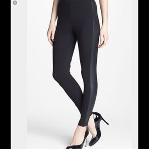 Vince black leggings with faux leather