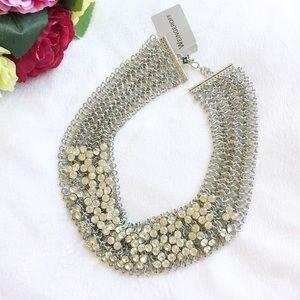 Silver tone Bib necklace.