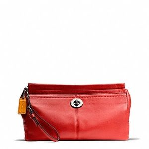 Vermillion Red Clutch with Wristlet Strap