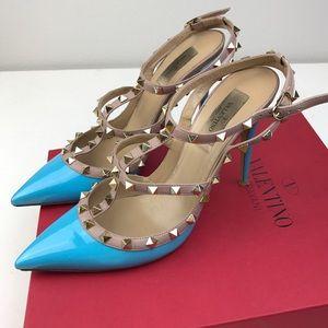 Valentino Shoes - Valentino Garavani blue patent 'Rockstud' pumps