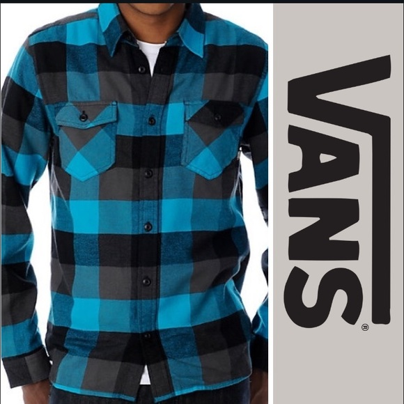 8e5a897e7d Vans Box Black & Turquoise Flannel Shirt