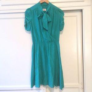 Original Penguin Dresses & Skirts - Original Penguin teal silk wrap bow dress NWT