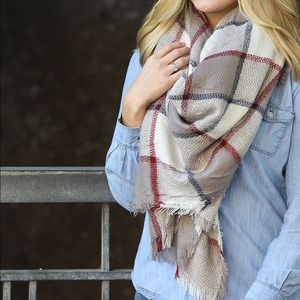 Funky Monkey Accessories - Camel and Red Plaid Blanket Scarf