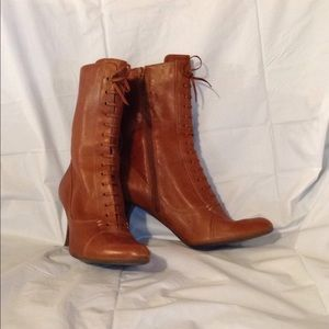 Franco Sarto Shoes - FRANCO SARTO BOHO GYPSY LACED UP ANKLE BOOTIES 6.5
