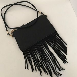 Triple 7 Handbags - Black fringe crossbody bag