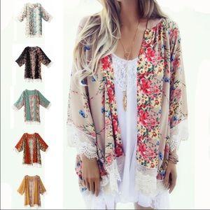 WILA Sweaters - LAST 1 🌸Floral kimono sheer cardigan peach