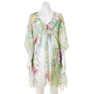 Jennifer Lopez Dresses & Skirts - Jennifer Lopez Green Floral Embellished Dress