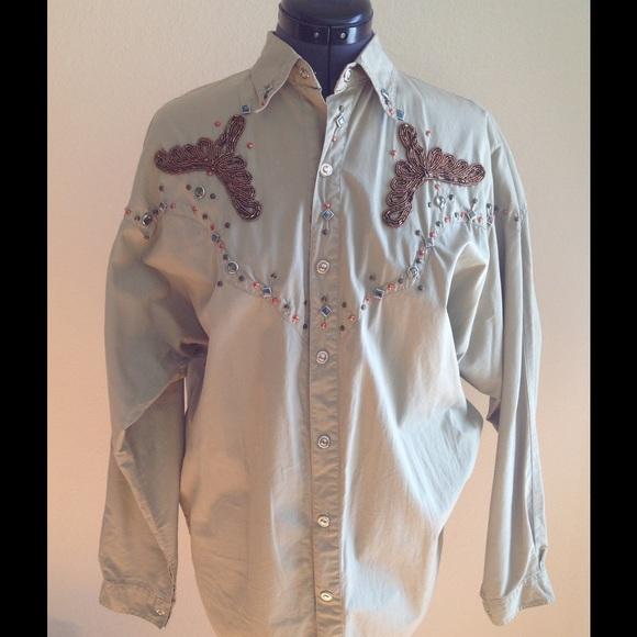 Tops - Vintage Khaki Glitzy Western-style Blouse