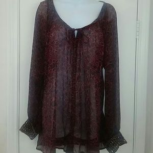 Jessica Simpson Tops - Jessica Simpson Sheer lng sleeve jewel cuff blouse