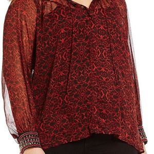 Jessica Simpson Sheer lng sleeve jewel cuff blouse