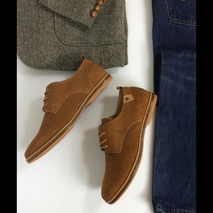 Men's Brown Suede Leather Oxford Lace Up Shoes