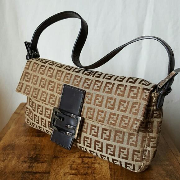6470296207 Fendi Handbags - VGUC vintage Fendi brown zucca baguette bag