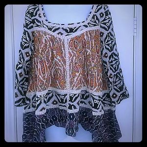 freeway Tops - Freeway Jr Boho patch print tribal blouse sz large