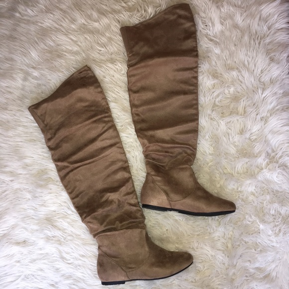 d52706057935 Shoes | Light Brown Faux Suede Slouchy Over The Knee Boots | Poshmark