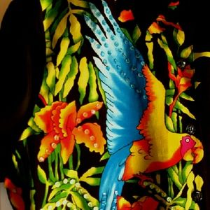 Diane Gilman Tops - NWT Vibrant Silk Parrot Blouse w/Sequins