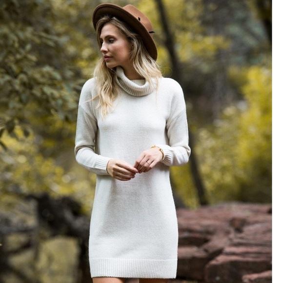 Marine Layer Dresses Cream Turtleneck Sweater Dress Poshmark