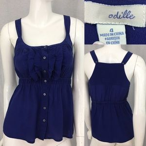 Sz 4 Anthro Odille Ruffle Button Front Silk Top