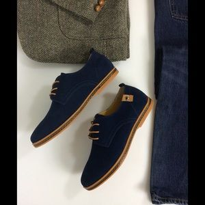 SoFitly Other - Men's Blue Suede Leather Oxford Lace Up Shoes