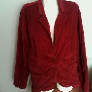 Cato Jackets & Blazers - Cato Woman Dark Red Courderoy Jacket 22/24W Plus