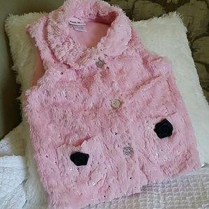 Little Lass Other - Little Lass pink faux fur vest