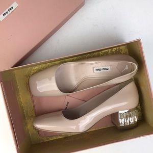 NWT Miu Miu Crystal-Heel Patent Leather Pump