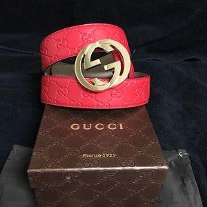 Gucci Other - Authentic Gucci Men Belt Red Guccissima Monogram
