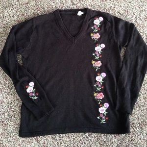 Vintage Black V-neck Sweater with Floral Patches