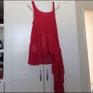 bebe Asymmetric Tunic, Red