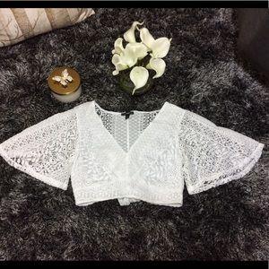 Express tie back crochet cropped v neck top