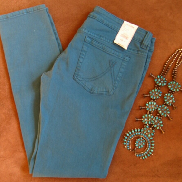 Anchor Blue Denim - Turquoise Anchor Blue Skinny Jeans