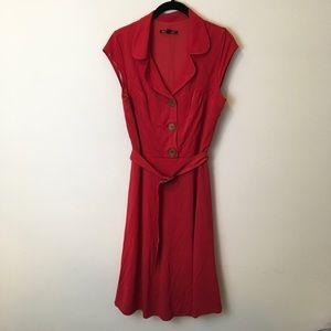Betsey Johnson Dresses & Skirts - Betsey Johnson Red Short Sleeve Button Midi Dress