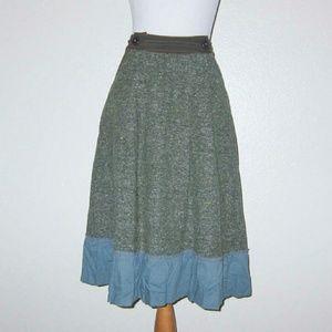 Aquarius Green Tweed Skirt